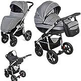 Clamaro 'Baby Boat' 3in1 Premium Kombi Kinderwagen mit XL Luftreifen (360° schwenkbar) inkl. Maxi Cosi CabrioFix Babyschale, Buggy, Babywanne und klappbarem Alu Gestell - Muster: BB-02 Beige