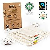 dear roots  Wiederverwendbare Obst- und Gemüsebeutel | 100% GOTS + Fairtrade Bio Baumwolle |...