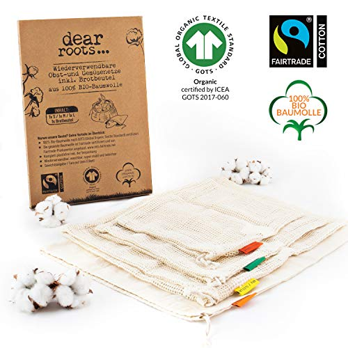 dear roots ® Wiederverwendbare Obst- und Gemüsebeutel | 100% GOTS + Fairtrade Bio Baumwolle | Gemüsenetze für den PLASTIKFREIEN Einkauf INKL. Brotbeutel | Premium Zero Waste Produkte