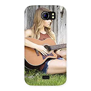 Enticing Guitar Girl Multicolor Back Case Cover for Micromax Canvas 2 A110