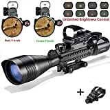 Air Rifle Scope C4-12x50EG Airsoft Sniper Gun Sight with 4 Holographic Reticle Red/Green