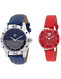 Om Collection Couple Watch Combo Blue And Red Colour Set Of 2 Pcs-omwp-5