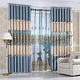 Xuzin Vorhang Vorhänge Luxus Europäische Hohl Stickerei Tüll Für Schlafzimmer Blau Wasserlösliche Stickerei Vorhänge Für Wohnzimmer, W2.5 * H2.7m, Vorhang, Tuch by