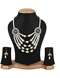 Jewels Gold Enameled Pearls Contemporary Handmade Tribal Necklace With Earrings Set For Women & Girls