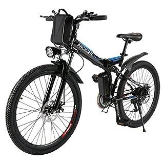 ANCHEER Electic Mountain Bike, 26 inch Folding E-bike, 36V 250W, Premium Full Suspension and Shimano 21 Speed Gear (Black)