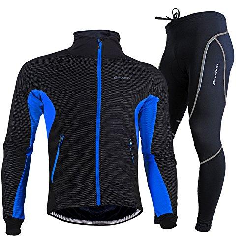 TollMode Herren Fahrradbekleidung Set Lang Winter Radjacke und Fahrradhosen (M, Blau)
