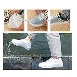Dasongff Dasongff Wasserdichte Schuhe Abdeckung Schuhüberzieher Silikon-Überschuhe mit Verstärkter Antirutsch-Sohle Waschbar Wiederverwendbar 、 (Weiß-L)