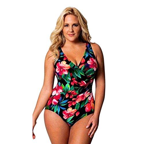 Wickeln Frauen Für Badeanzüge Sie (smileq Sexy einem Stück Bikini Jumpsuit Frauen Plus Größe V Hals wickeln Monokini Bademode Push Up Badeanzug rückenfrei Beachwear, Schwarz , XXX-Large)