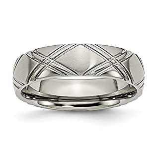 JewelryWeb Titanium Grooved Brushed Polished Engravable Criss-Cross Design 6mm Sat/Polish Band - Size S 1/2