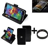 K-S-Trade® Case Schutz Hülle Für -Blackview BV 5000- + Bumper Handyhülle Flipcase Smartphone Cover Handy Schutz Tasche Walletcase Schwarz (1x)