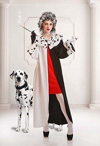 EL REY DEL CARNAVAL, SL Cruella-Mantel-Kostüm für Damen M (Dalmatiner Kostüm Für Erwachsene)
