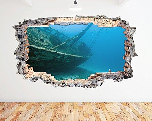 tekkdesigns N262Gesunkenes Schiff Wrack Blue Ocean zerstörten Wand Aufkleber 3D Kunst Aufkleber Vinyl Zimmer (groß (90x 52cm)) -