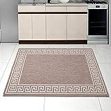Teppich SISAL Optik in Taupe - Modern Küche Flachgewebe Küchenteppich - Griechisch Muster Kaffee - Sehr Robust Öko-Tex