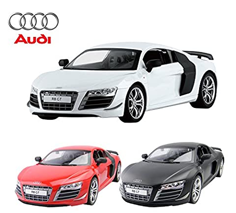 Audi R8 Remote Control Car – Rechargeable Electric Radio Controlled Audi R8 GT RC Car – Working Lights – PL9370 1:14 Official Licensed Audi R8 Model – RTR, EP (Black/White/Red) (Random Colour)