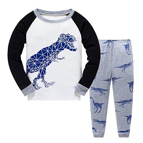Tkiames Jungen Pyjama für Jungen, LKW, Dinosaurier, Kinder-Pjs mit Langen Ärmeln Gr. 3-4 Jahre, Digital Dragon