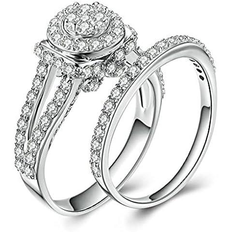 Daesar Joyería Compromiso Anillo de Plata, Sortija para Mujer Personalizado alo de Redonda Diamante Imitación Cubic Zirconia Anillo Doble Banda