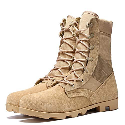 SEHRGUTGE Herren Combat Desert Stiefel - Leder Military Army Outdoor Tactical Schnürstiefel - zum Klettern/Wandern/Training