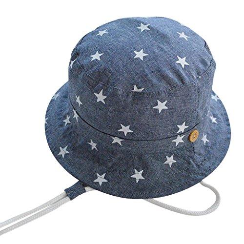 Tangda Baby Hut Unisex Mädchen Jungen Baumwolle Sonnenhut Kids Mütze Sommer Kappe UV Schutz Stern Drucken Muster Sonnenschutz Babymütze 46cm - Blau (Kinder Hüte Für Den Sommer)