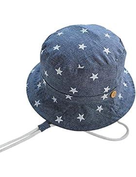 Happy Cherry Verano Sombrero Infantil con Ala Tipo de Pescador Algodón Gorra Protección de Sol Estampado de Estrellas...
