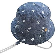 Happy Cherry Verano Sombrero Infantil con Ala Tipo de Pescador Algodón Gorra Protección de Sol Estampado de Estrellas Bucket Hat para Bebés Niños Niñas