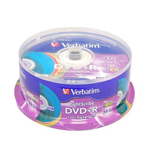 Verbatim 16x dvd + r lightscribe color backgound recordable discs, 4.7gb/120min–confezione da 25(media) con