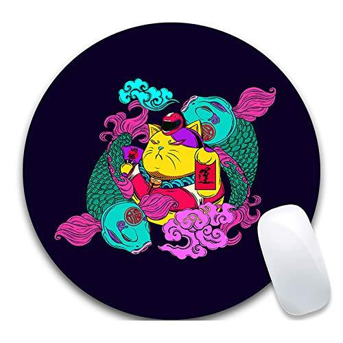 SonMo Mousepad Gaming Mauspad Anti-Rutsch Matte Rund Gummi Textil Katze Textiloberfläche Mouse Pad Multicolor für Gaming und Office 200X200X3MM
