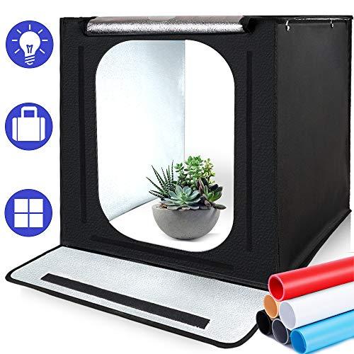 SAMTIAN Fotostudio Portable 16''x16''x16''/40*40*40cm Lichtzelt Beleuchtung Studio Schießen Zelt Box mit 4 Hintergrundpapier (schwarz,...