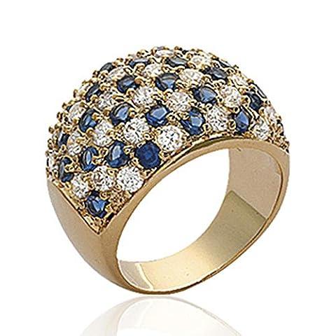ISADY - Freida Gold - Bague Femme - Plaqué Or 750/000 (18 carats) - Oxyde de zirconium transparent et bleu - Taille 66