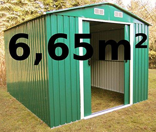 ASS Gartenhaus Geräteschuppen 6,65m² 2,57×2,59m aus verzinktem Stahlblech Metall grün von