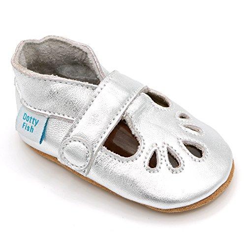 Dotty Fish Weiche Baby Lederschuhe. Silberfarben T-Bar Schuhe für Mädchen. rutschfeste Wildledersohlen. 0-6 Monate (17 EU)