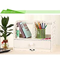 Yinmake Desk Organiser 2-Tier Multi-use Bookcase Bookshelf Wooden Plastic Plate Storage Rack with a Drawer for Home Kitchen Office Bedroom Bathroom (White)