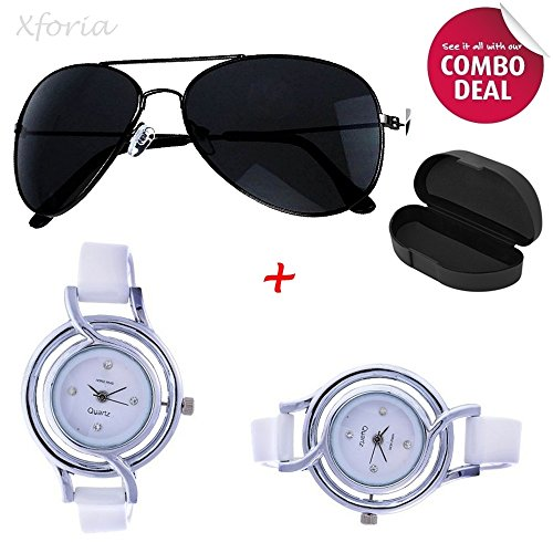 Xforia Unisex Black Sunglasses and Analog Watch Combo Set(Sunglasses & Watch)