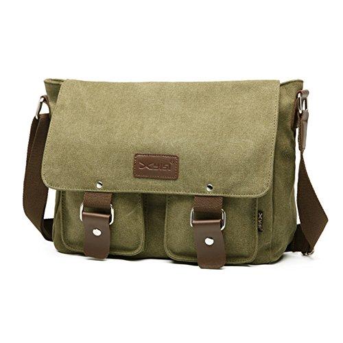 Butterme Sacchetto di spalla del messaggero della cartella degli uomini del sacchetto di spalla del computer portatile della tela di canapa dell'annata Army Green