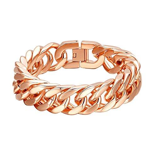 Kangqifen Schmuck Damen Herren Armband Edelstahl Armschmuck Rose Gold Länge 21,5 cm - Breite 1,5 cm