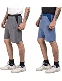 VD Sales, Combo Pack Of Black & Blue Striped Shorts For Casual Wear