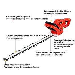 TEENO Taille-haies électrique Taille Haie710 W,Longueur de Lame 610 mm,Ouverture des Dents 24 mm