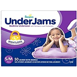 Pampers Underjams Bedtime Underwear Girls, Small/Medium Diapers, 50 Count by Pampers