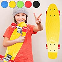 "Physionics® Skateboard - 22"" (57cm), Ball bearings: ABEC 5, in Complete Board, Classic Skateboard, Adults Kids Skateboard, Beginners and Pro Skateboard"