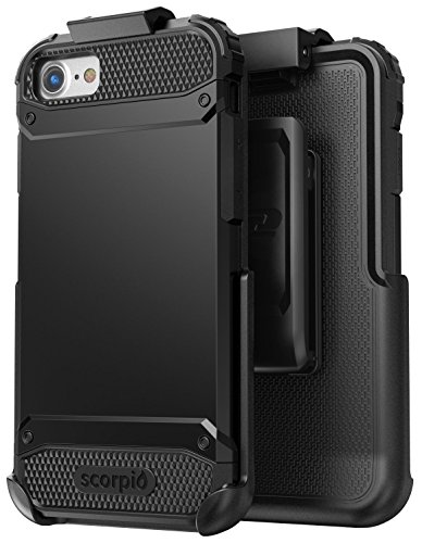 iPhone 7 Belt Clip Case, Premium Tough Protection w/ Holster - Scorpio R7 by Encased (Metallic Gray) Smooth Black