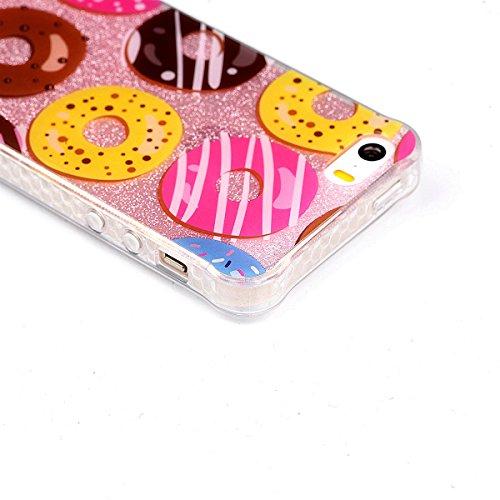 Voguecase® Pour Apple iPhone 5 5G 5S SE, TPU avec Absorption de Choc, Etui Silicone Souple, Légère / Ajustement Parfait Coque Shell Housse Cover pour iPhone 5 5G 5S SE (Fleur dentelle 08)+ Gratuit sty Donuts 06