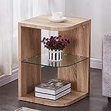 GOLDFAN Legno Tavoline da Salotto Vetro 3 Livelli Tavoline da Caffè Piccolo con Contenitore, Comodino da Tavolo Quadrato, Design Moderno, Colore Rovere