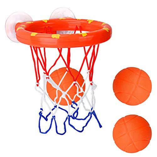 Cyfie Canasta Baloncesto Infantil Bañera,Ganasta de Baloncesto Pequeña de Plástico con 3...