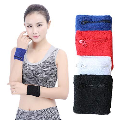 JANJONY EIN Paar Baumwoll-Sportarmbandarmschienen Schutzausrüstung mit Reißverschlusstasche, Abwischen des Schweißens, Warm,Blue