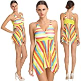 Fascinating Multi Yellow Striped Two Piece Bathing Suit Boy Short Bottom Tankini