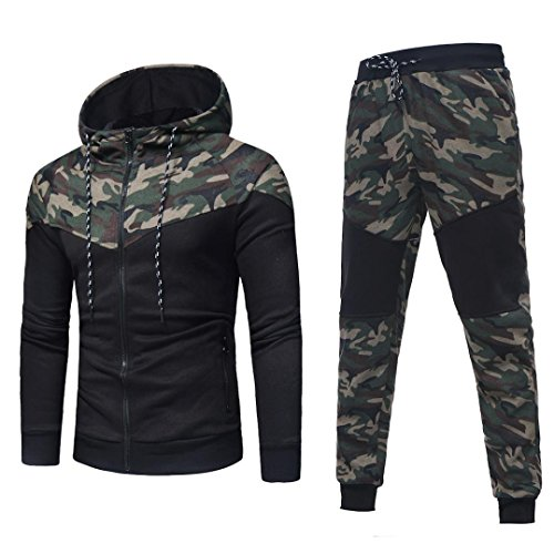 Sudadera Hombre, Xinan Sudadera de Camuflaje Otoñal de Invierno Para Hombre Long Sleeve Top Pants Sets Sports Suit Imprimir Chándal/Pantalones