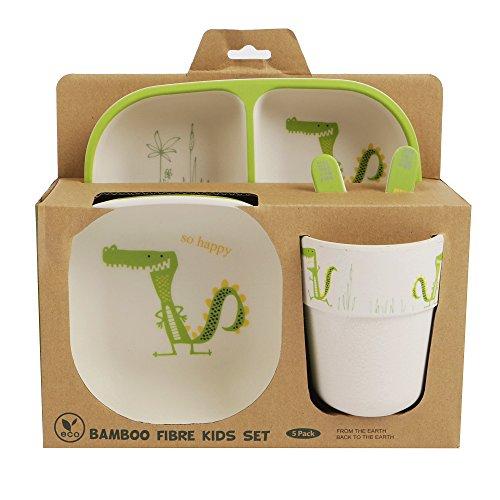Bambus-Geschirr-Set für Kinder, runder Bambusteller, Kinder-Besteck, Bambus-Schale, Kinderbecher, umweltfreundlich, BPA-frei und spülmaschinenfest, 5-teilig Alligator