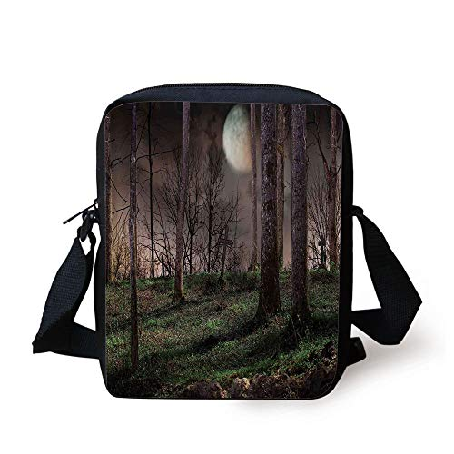 CBBBB Gothic,Dark Night in The Forest with Full Moon Horror Theme Grunge Style Halloween,Brown Green Yellow Print Kids Crossbody Messenger Bag Purse