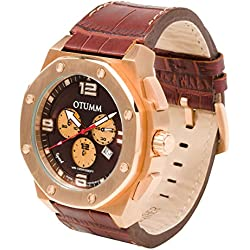 OTUMM Speed Rose Gold 09299 Men's Watch XL - 53 mm (Chronograph & Leather Bracelet - Brown