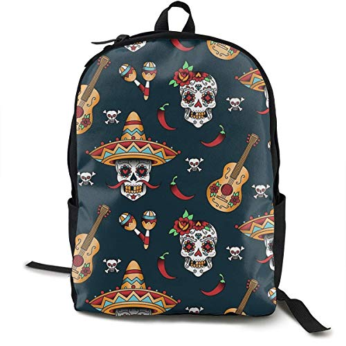 sghshsgh Rucksack für Hochschule,Casual Backpck Big Capacity Anti-Theft Multipurpose Carry-On Bag Backpack for Gym Picnic Walking Cycling Guitar Pepper Sugar Skull, Traveling & Camping Backpack bookb -