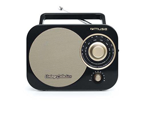 Muse M-055 RB Tragbares 2 Band-Radio FM/MW, Vintage Stil, Tragegriff, Teleskopantenne schwarz - Band Fm Bluetooth
